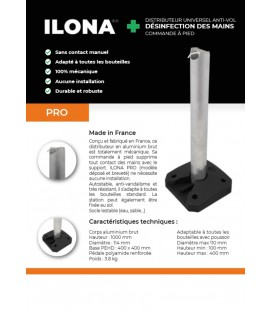"Distributeur de Gel ""sans contact"" -Ilona alu brut-"